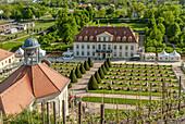 Main building of the Saxon State Winery Schloss Wackerbarth in Radebeul, Saxony, Germany