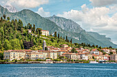 View of Bellagio on Lake Como seen from the lake side, Lombardy, Italy