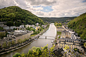 """Panorama of the spa town of Bad Ems, UNESCO World Heritage Site """"Major Spa Towns of Europe"""", Rhineland-Palatinate, Germany"""