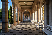 """Arcade construction in Bad Kissingen, UNESCO World Heritage Site """"Major Spa Towns of Europe"""", Lower Franconia, Bavaria, Germany"""