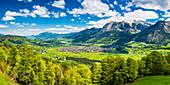Mountain panorama from the southwest on Oberstdorf, Oberallgäu, Allgäu, Bavaria, Germany, Europe