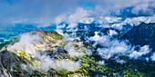 Panorama from Nebelhorn, 2224m, to the Deinenkopf, 2043m and into the cloud-shrouded Retterschwanger Valley, Allgäu Alps, Allgäu, Bavaria, Germany, Europe