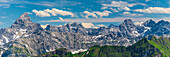Mountain panorama from Nebelhorn, 2224m, to Hochvogel, 2592m and the Hornbach range, Allgäu Alps, Bavaria, Germany, Europe