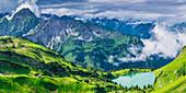 Panorama from the Zeigersattel to the Seealpsee, to the left behind the Höfats 2259m, Allgäu Alps, Allgäu, Bavaria, Germany, Europe