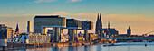 Panorama from the Südbrücke, Rheinauhafen with crane houses, cathedral and Severinsbrücke, Cologne, North Rhine-Westphalia, Germany, Europe