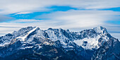 Panorama of the Wetterstein Mountains with Alpspitze 2628m and Zugspitze 2962m, Werdenfelser Land, Upper Bavaria, Bavaria, Germany, Europe