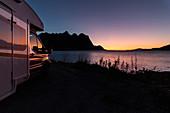 Motorhome with sunset, Tjongsfjorden, Norway, Scandinavia