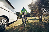 VW bus and mountain bikers, VW T6 California, Bulli, French Riviera, France