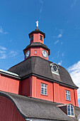 Old, red wooden church with a tower, Lidköping, Västra Götaland, Sweden