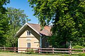 Old lock house in Hajstorp on the Göta Canal, Västra Götaland, Sweden