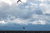 Kitesurfers in stormy weather at Lake Siljan, Rättvik, Dalarna, Sweden