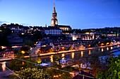 Ansicht von der Kirchenfeldbrücke an der Aare auf die Altstadt von Bern, Schweiz