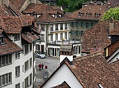 View from the Nydeggbrücke on the Aare to the old town of Bern, Switzerland