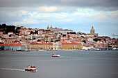 View from Cacilhas to Almada from the south side of the Tagus River, Lisbon, Portugal