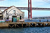 View from Almada on the south side of the Tagus River with bridge, Lisbon, Portugal