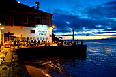 View from Almada on the south side of the Tagus River with bridge and restaurant Ponte Final, Lisbon, Portugal