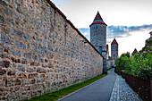 Hertlesturm and city wall in Dinkelsbuehl, Bavaria, Germany