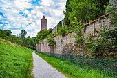 Green Tower and city wall in Dinkelsbuehl, Bavaria, Germany