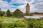 Hertlesturm and the city wall in Dinkelsbuehl, Bavaria, Germany