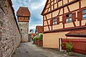 City wall and Bäuerlinsturm in Dinkelsbuehl, Bavaria, Germany