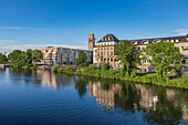 View of the Ruhr and city harbor in Muelheim an der Ruhr, North Rhine-Westphalia, Germany