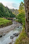 River weir on the Partnach River near the Partnach Gorge in Garmisch Partenkirchen, Bavaria, Germany