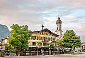 Streetscene at the city center of Garmisch Partenkirchen, Bavaria, Germany