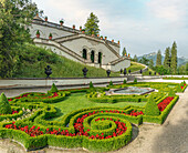 Terrace garden on the water parterre in the park of Linderhof Palace, Ettal, Bavaria, Germany