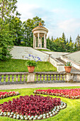 Terrace garden and Venus temple on the water parterre in the park of Linderhof Palace, Ettal, Bavaria, Germany
