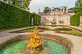 East parterre in the park of Linderhof Palace, Ettal, Bavaria, Germany