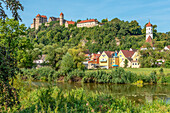 View of Harburg Castle in summer seen from the Wörnitz valley, Swabia, Bavaria, Germany
