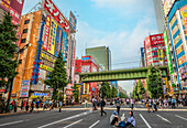 Pedestrians on a car-free Sunday on the Chuo-Dori shopping street in Akihabara Electric Town district, Tokyo, Japan