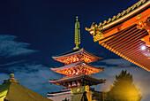Edo period five-story pagoda in Sensoji Temple, (Asakusa Kannon Temple), Asakusa, Tokyo, Japan