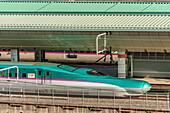 Hayabusa Shinkansen train in Tokyo Station, Japan