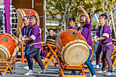 Traditional taiko drummers during a competition in Tokyo, Japan