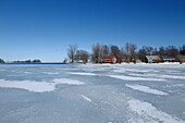 Houses on Saint Lawrence River, Quebec, Canada