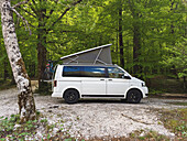 VW bus in the forest of Triglav National Park, Slovenia
