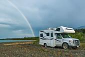 WildCamping under the Rainbow, Kluane Lake, Yukon, Canada