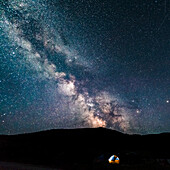Camping under the stars, Tracy Lake, Wyoming, USA