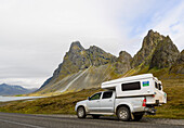 Rough mountains on the ring road in southern Iceland