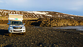 Parking space by the bay, East Fjords, Iceland