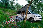 Camping in an olive grove, near La Spezia, Italy
