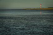 The Oberfeuer Tossens lighthouse at low tide in the evening light, Butjadingen, Wesermarsch, Lower Saxony, Germany, Europe