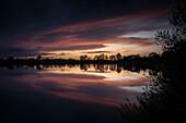 Dusk at Accumer See, Schortens, Friesland, Lower Saxony, Germany, Europe
