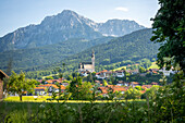 View of the village of Anger im Chiemgau, Bavaria, Germany