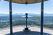 Stand telescope with a view of the Alps from Pyramidenkogel, Carinthia, Austria