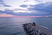 Albania, Southern Europe, Land Rover Defender, roof tent, Mediterranean Sea, Adriatic Sea, pier, jetty