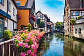 Canal at the market square in Forchheim, Bavaria, Germany