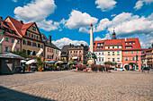Market square in Kulmbach, Bavaria, Germany