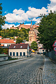 Firing trench with a view of Plassenburg and Petrilirche in Kulmbach, Bavaria, Germany